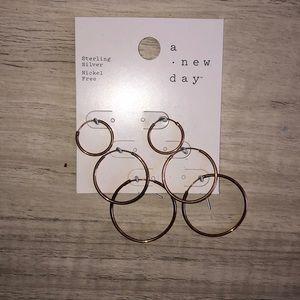Bronze hoop earring set